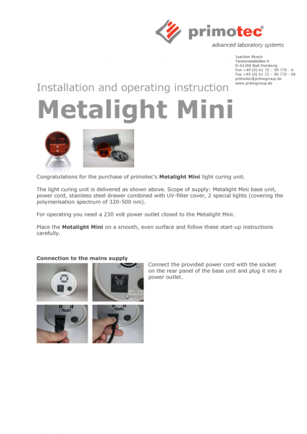 Metalight   Mini Product Information And Instruction Manual